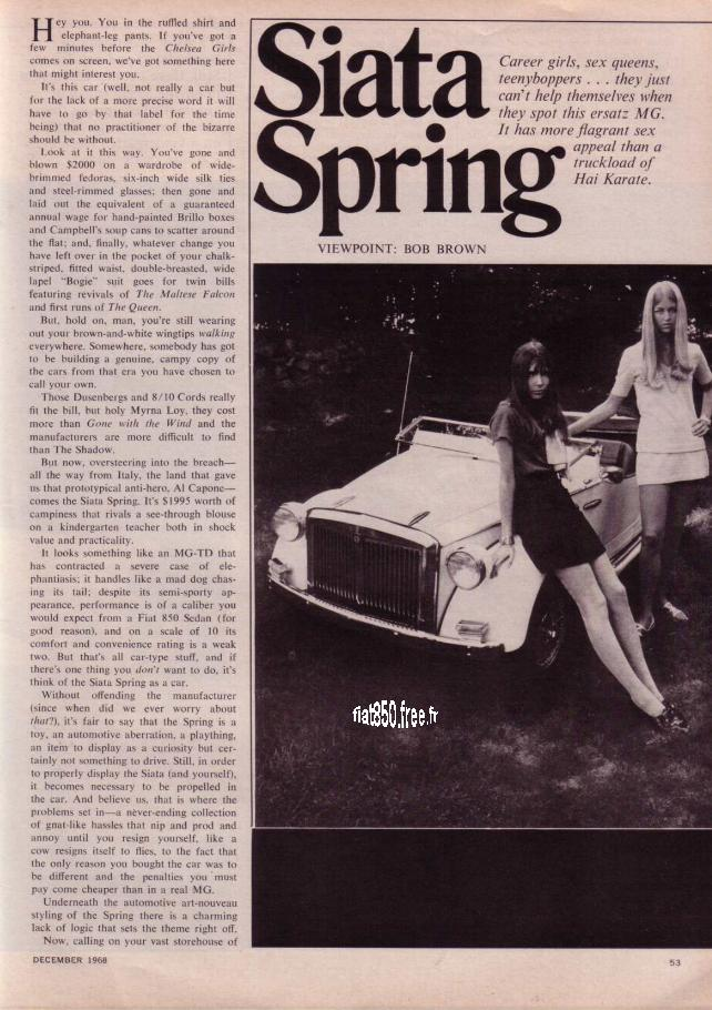 Car And Driver December 1968 Vol 14 Number 6 View Point Siata Spring Build A Better Bird Snare By Bob Brown Pages 53 54 55 94